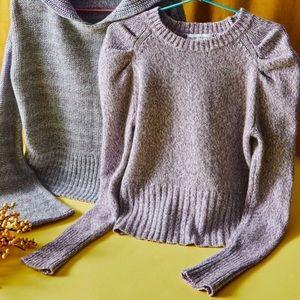 White + Warren Purple Puff Sleeve Cashmere Sweater